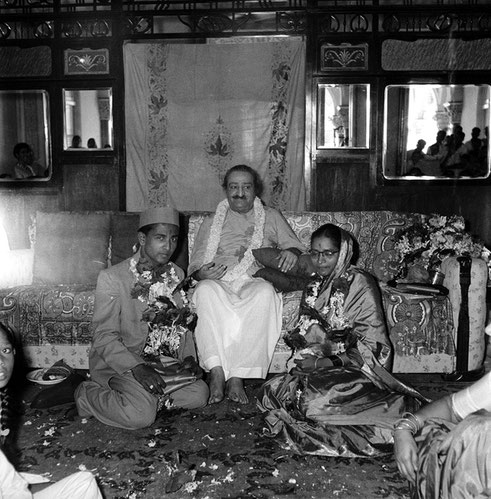 The wedding ceremony of Madhusudan and Subhuddra in Meher Baba's presence  at Guruprasad, Poona, India