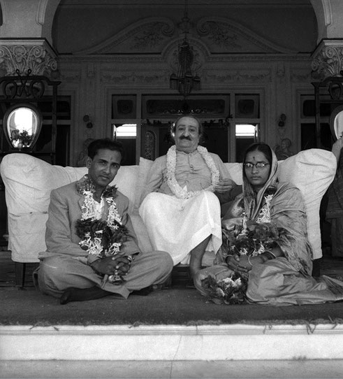 The wedded couple-  Madhusudan and Subhuddra with Meher Baba at Guruprasad, Poona, India