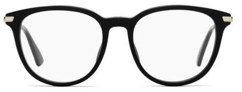Frontale degli occhiali da vista Christian Dior donna. Modello: Dioressence12 807 nero con inserti argentati. Calibro 50-17. Prezzo € 243,00. Materiale: acetato e metallo. Forma: tondeggiante.