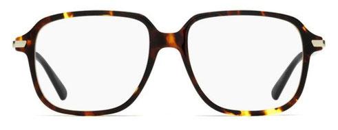 Frontale degli occhiali da vista Christian Dior donna. Modello: Dioressence19 EPZ tartarugato con aste nere e argento. Calibro 53-16. Prezzo € 243,00. Materiale: acetato e metallo. Forma: squadrata.