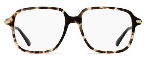 Frontale degli occhiali da vista Christian Dior donna. Modello: Dioressence19 HT8 tartarugato con aste nere. Calibro 53-16. Prezzo € 243,00. Materiale: acetato e metallo. Forma: squadrata.