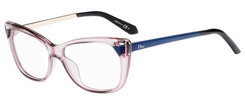 Foto degli occhiali da vista Christian Dior donna. Modello: CD3286. Colore: 6ML rosa trasparente e blu. Calibro 53-14. Prezzo € 243,00. Materiale: acetato e metallo. Forma: a farfalla.