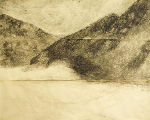 Gebirge, Tusche auf Papier, 180 x 265 Cm