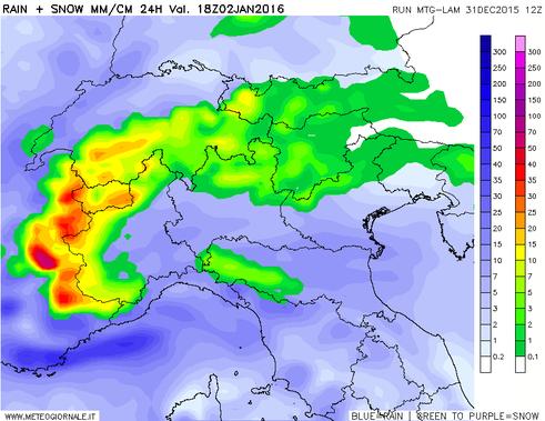 In allegato il modello fisico-matematico MTG riguardante la neve prevista nel pomeriggio di Sabato.