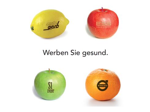 Logo Ostereier, Apfel mit Logo, obst werbung, obst gravieren, Logo Obst