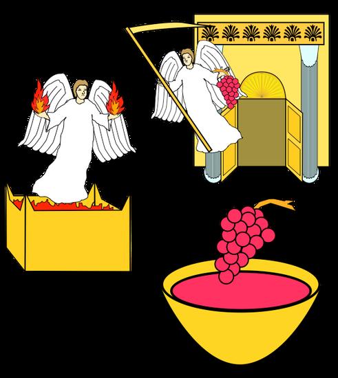 Un sixième ange sort de l'autel, il a autorité sur le feu et dit à l'ange qui a la faucille tranchante de vendanger les grappes de la vigne de la terre car les raisins sont mûrs. Le 6ème ange qui sort de l'autel d'or est Jésus-Christ.