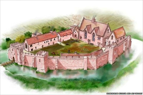Artist's impression of Weoley castle in its heyday - Birmingham Museums & art Gallery