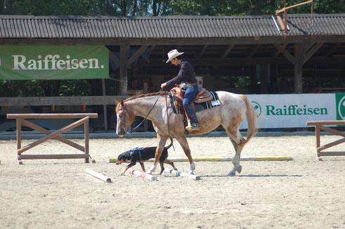 Priska auf Snowy mit ihrer Fibi beim Horse & Dog Trail;Priska Kelderer; Reiten in Kaltern am See; Reitschule; Pferde; Haflinger