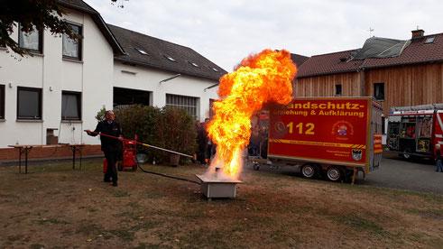 Fettexplosion, bei Löschversuch von brennendem Fett, mit Wasser