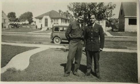 Fred Larson Kristensen and Peter Brennan.  London, Ontario, Canada, 24 August 1944.