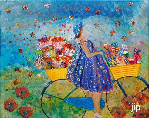 op de fiets: bloemen en kadootjes
