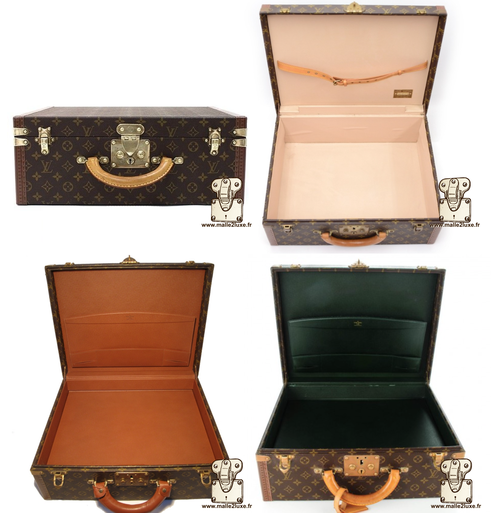 """Super President suitcase  Dimensions: 44 cm x 34 cm x 17 cm  The super president is higher than """"the president""""      It comes as standard in 3 interior finishes depending on the period and 2 interior fittings:  Strap in the file cover.  False bottom sys"""