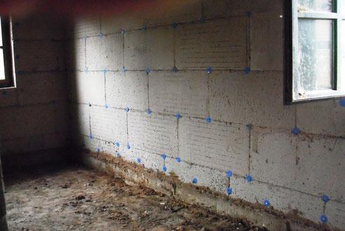 Wand mit Korkbaustoffen