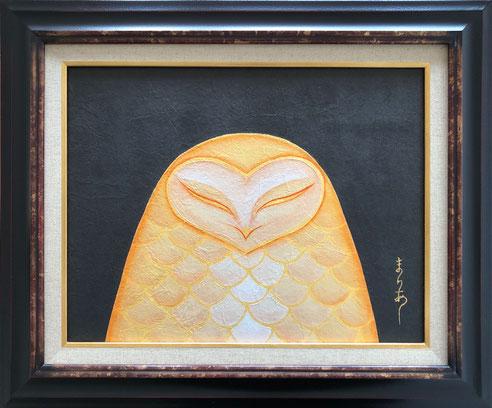 「月の鳥」F6号 和紙 墨 金泥 岩絵の具 膠 金箔