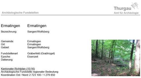 der Fundobjektbeschrieb des Amtes für Archäologie TG