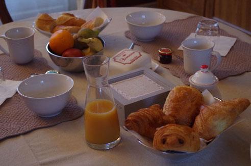 Petit déjeuner de la chambre d'hôtes du clos Jargot à Limoges