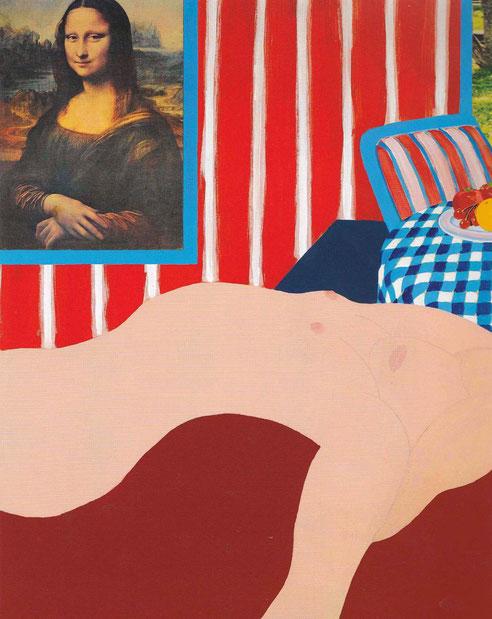 Gran desnudo americano n.31,1962-Tom Wesselmann.Óleo técnica mixta y collage sobre tabla. 152cmx121cm.Col privada.Limita su paleta de colores a la bandera americana,colores brillantes en un típico hogar de alta burguesia americana.