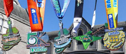 Medaillen 2016, v.l.n.r. 10km, 5km, HM, Remix Challenge (Doppelstarter), fun run