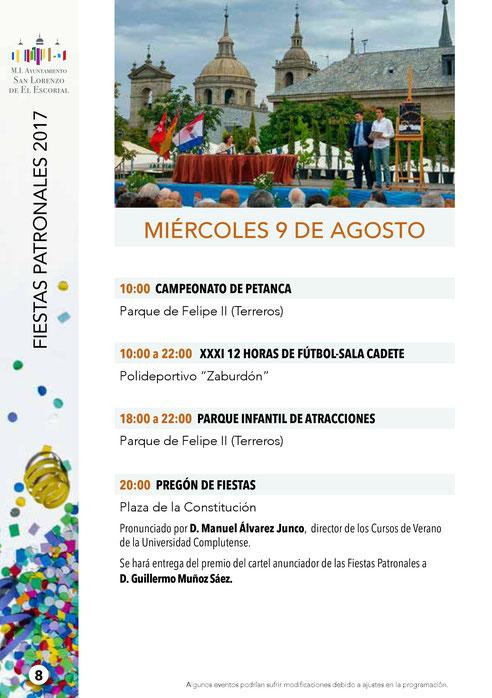 Programa de las Fiestas de San Lorenzo de El Escorial