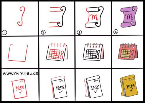 Notizzettel, Notepaper, Tags, Anhänger, Sketchnotes, Doodles, How to draw, Step by step tutorial, schritt für schritt Anleitung, malen