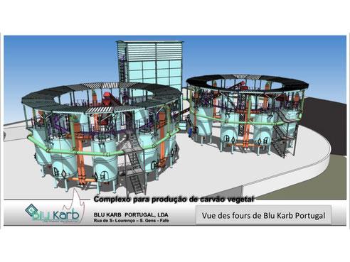 Vue de l'usine de charbon de bois de Fafe au Portugal