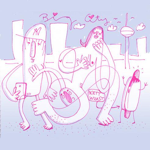 Eine kleine Skizze, gezeichnet mit pinkfarbenem Fineliner, koloriert in Photoshop. Illustration im Urban Art Style von Frank Schulz