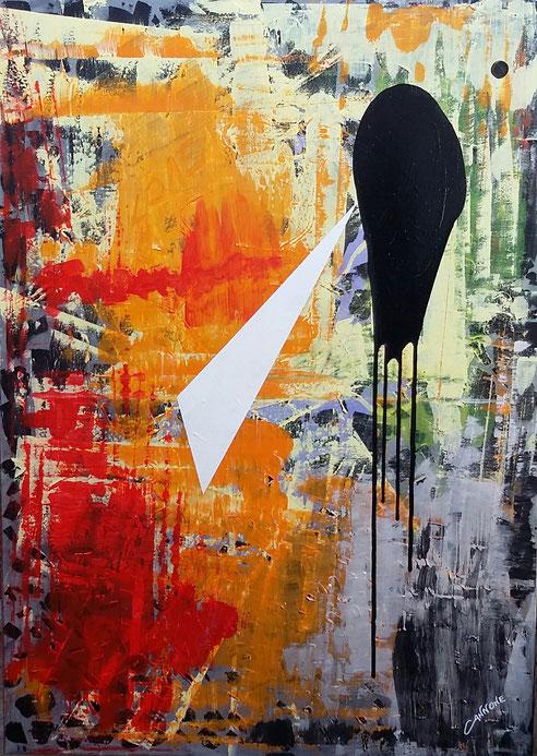 La Forza dell'Amore (2014) E' un'opera realizzata con uno sfondo prevalentemente spatolato con acrilici e vernici. Un triangolo bianco, che rappresenta la Luce, sta per attraversare una sfera Nera che rappresenta il buio, la quale perde la sua forma sferi