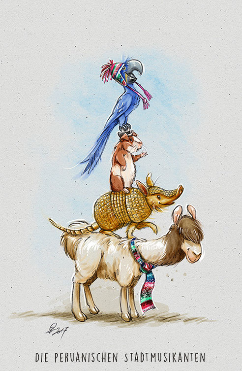 Die peruanischen Stadtmusikanten, Illustration Patrick Fix