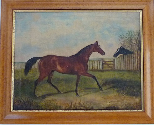 English 19th century folk art naive school, horses in a field