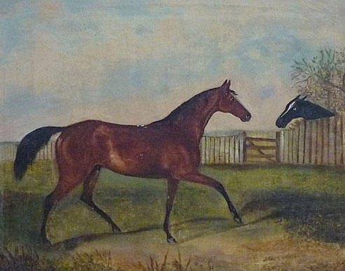 English 19th century naive folk art school, horses in a field