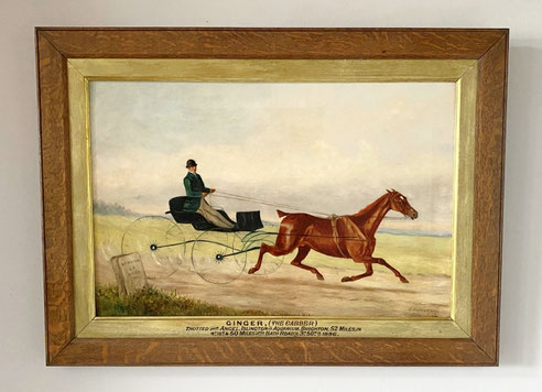 Ginger the Cabber, London to Brighton horse race 1886.  Folk art oil painting