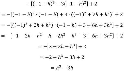 Ausführlicher Rechenweg zum zweiten Teil der Überprüfung auf Punktsymmetrie