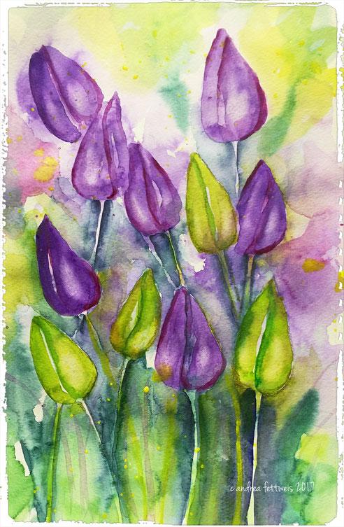 Bild des Monats: Tulpen in Aquarell