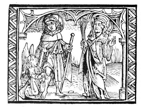 Die Pestheiligen St. Rochus und St. Sebastian. Titelbild eines gereimten Pestbüchleins, Straßburg 1500.