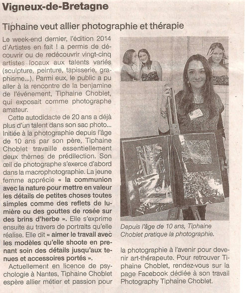 article presse ouest france photographe photographie exposition