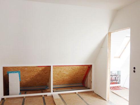 WEM Klimaelement MV - Dachgeschoss - Dachschräge mit Wandheizung - Lehmbauplatten