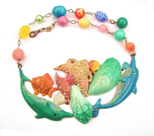 COLLANA/COLLIER marino, delfini cozze e pesci smaltati ,perle satinate, pesci e materiali d'epoca (rame ditta Framex, Parigi anni '30)