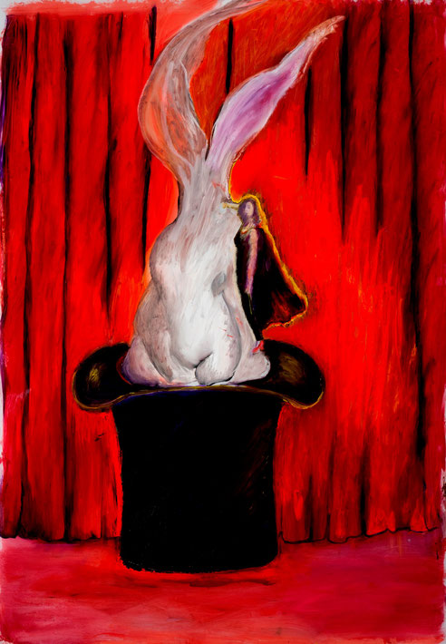 Pulling Rabbits Out of a Hat (Endless Impossibilities Series), 2011, oil/vellum, 36x48""