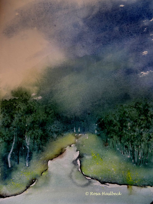 Aquarell,, landschaft, landschaftsaquarell, blau, grün, , kunst bild, malerei kaufen , malen bilder