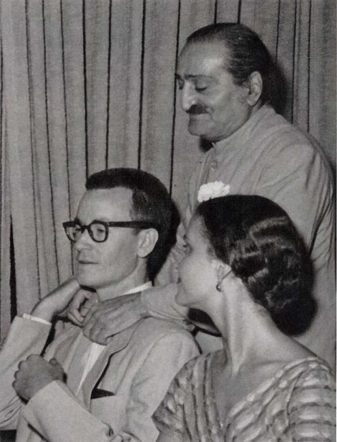 22nd July 1956 - Longchamps Restaurant, New York. Baba with Tex and Marie Adair.