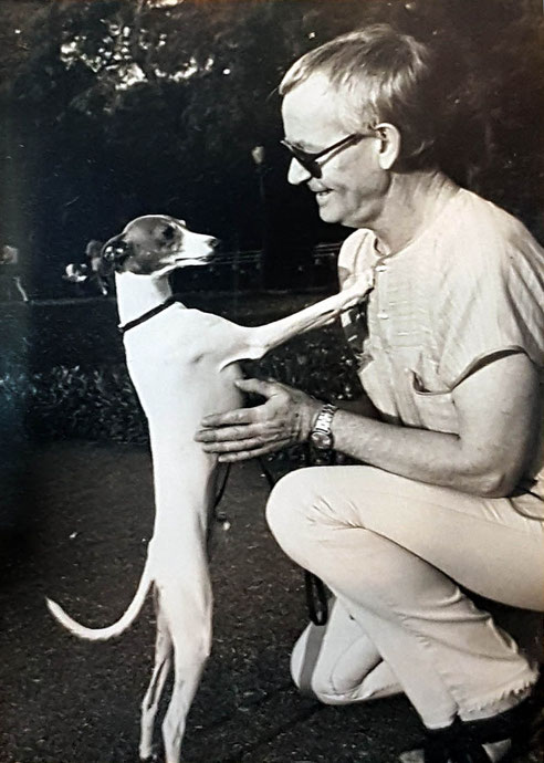 Tex with his pet Whippet