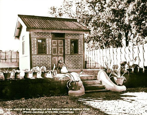 Baba outside the Rahuri Cabin in 1936. Courtesy of MSI Collection.