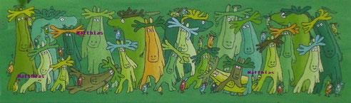 """""""Regenwaldelche"""",  Acryl auf Leinwand  100/30 cm  November 2007"""