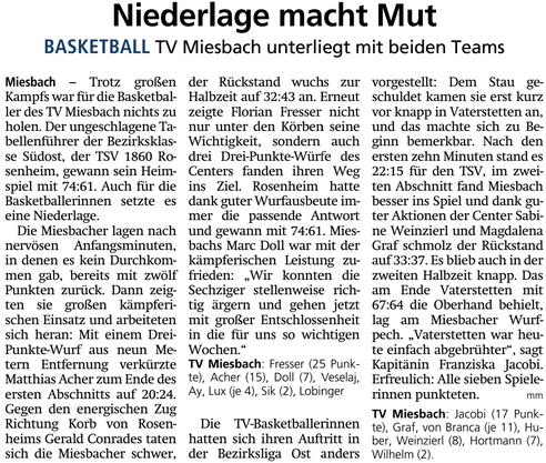 Bericht im Miesbacher Merkur am 29.1.2019 - Zum Vergrößern klicken