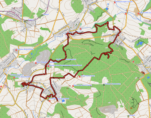 """GPXTrack 16 km Rundwanderung Georoute """"Watzenhahner Riesen"""""""