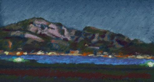 Corniche, Marseille, plage, Prado, Peinture, pastel, Marseilleveyre,