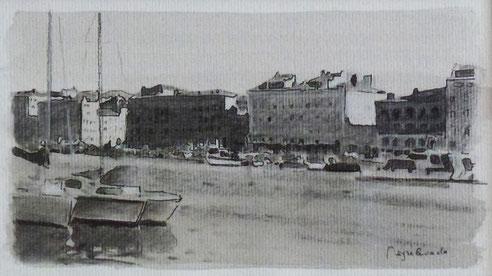 Marseille, Vieux port, quai, Rive Neuve, Mairie,