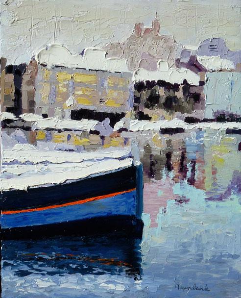 Vieux Port sous la neige, huile sur toile 33x41, notre dame de la garde, barque, pêche, pointu,
