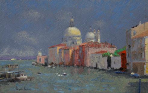 Jacques Peyrelevade, Venise, grand canal, gondole, basilique, Santa Maria della Salute