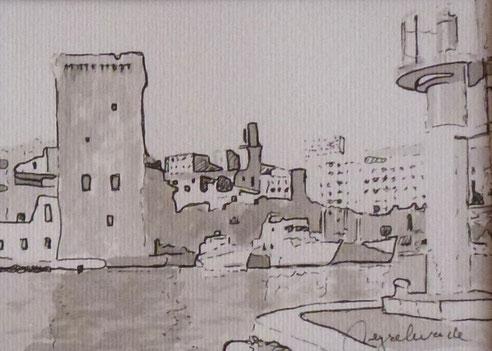 Marseille, fanal, phare, tour, Roi rRené, douane, église, Saint Laurent, bâteau,